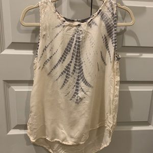 Cream tie dye tank top!!